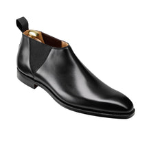 Load image into Gallery viewer, Black Leather Formal Short Chelsea Boot Slip On Shoes for Men with Leather Sole. Goodyear Welted Construction Available.