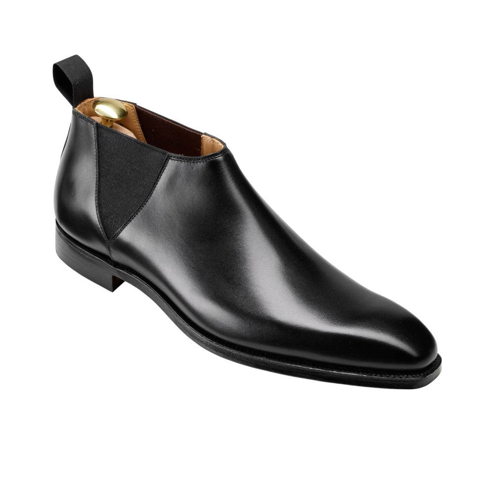 Black Leather Formal Short Chelsea Boot Slip On Shoes for Men with Leather Sole. Goodyear Welted Construction Available.