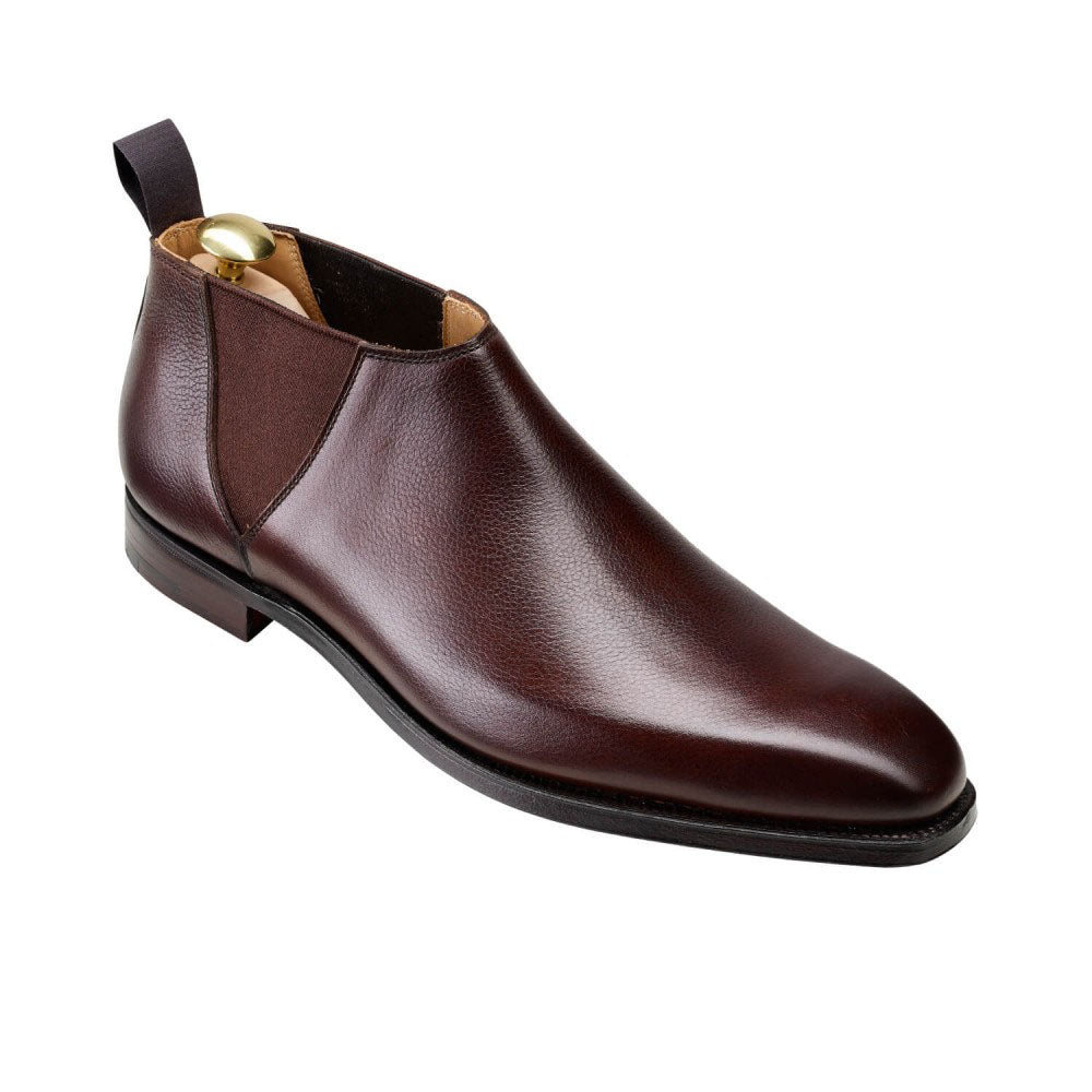 Brown Textured Leather Formal Short Chelsea Boot Slip On Shoes for Men with Leather Sole. Goodyear Welted Construction Available.