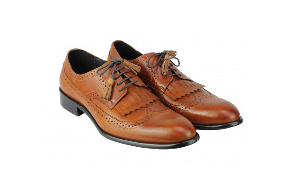 Tan Leather Formal Derby Tassel Lace Up Shoes for Men with Leather Sole. Goodyear Welted Construction Available.