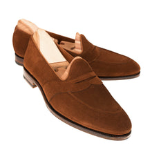 Load image into Gallery viewer, Tan Suede Leather Formal Penny Loafer Slip On Shoes for Men with Leather Sole. Goodyear Welted Construction Available.