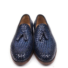 Load image into Gallery viewer, Navy Blue Patina Finish Braided Woven Leather Formal Tassel Loafer Slip On Shoes for Men with Leather Sole. Goodyear Welted Construction Available.