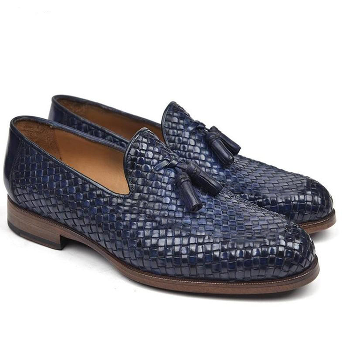Navy Blue Patina Finish Braided Woven Leather Formal Tassel Loafer Slip On Shoes for Men with Leather Sole. Goodyear Welted Construction Available.