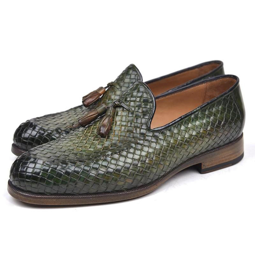 Olive Green Brown Patina Finish Braided Woven Leather Formal Tassel Loafer Slip On Shoes for Men with Leather Sole. Goodyear Welted Construction Available.