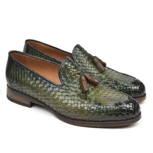 Load image into Gallery viewer, Olive Green Brown Patina Finish Braided Woven Leather Formal Tassel Loafer Slip On Shoes for Men with Leather Sole. Goodyear Welted Construction Available.