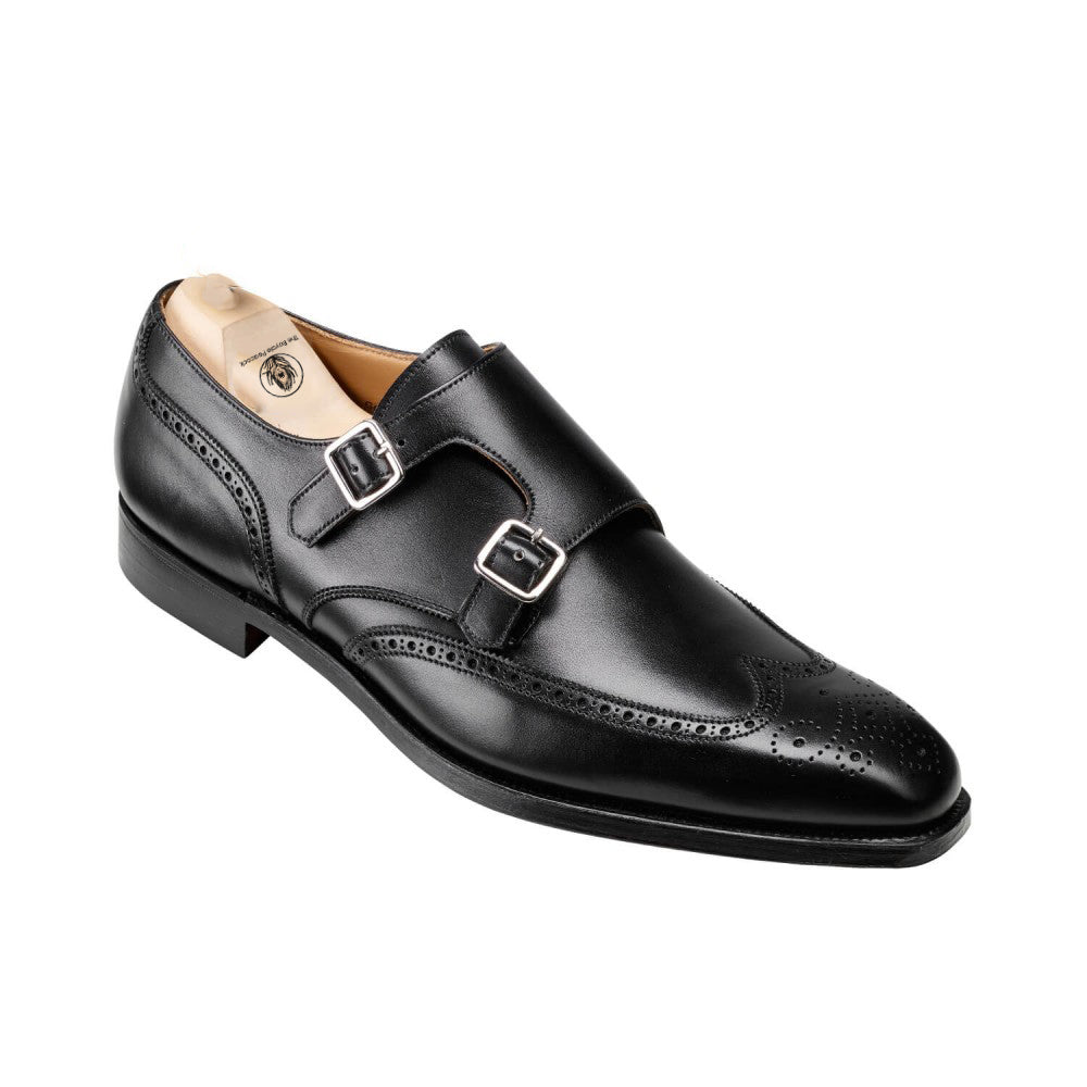Black Leather Wingtip Brogue Formal Double Monk Strap Buckle Shoes for Men with Leather Sole. Goodyear Welted Construction Available.