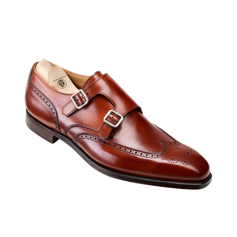 Tan Leather Wingtip Brogue Formal Double Monk Strap Buckle Shoes for Men with Leather Sole. Goodyear Welted Construction Available.