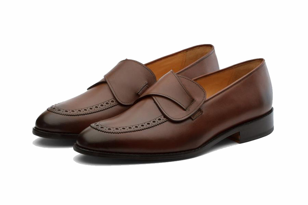 Brown Leather Formal Penny Loafer Slip On Shoes for Men with Leather Sole. Goodyear Welted Construction Available.