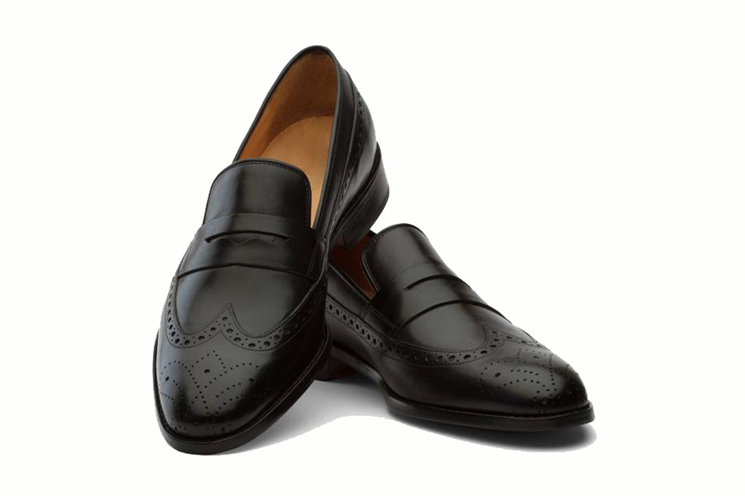 Black Leather Formal Penny Loafer Wingtip Slip On Shoes for Men with Leather Sole. Goodyear Welted Construction Available.
