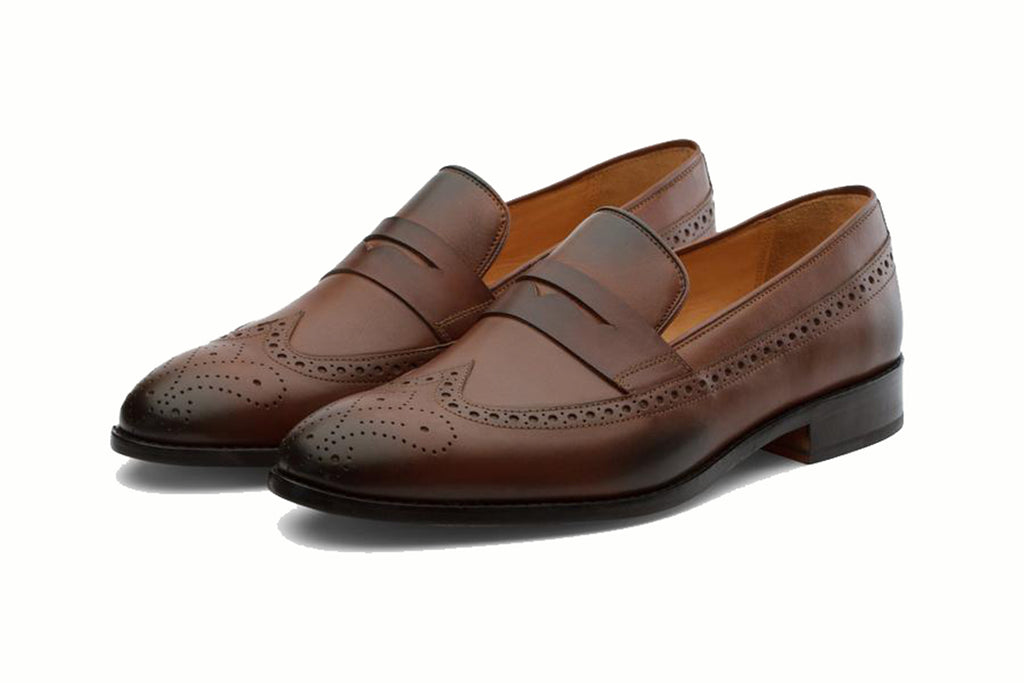 Brown Leather Formal Penny Loafer Wingtip Slip On Shoes for Men with Leather Sole. Goodyear Welted Construction Available.