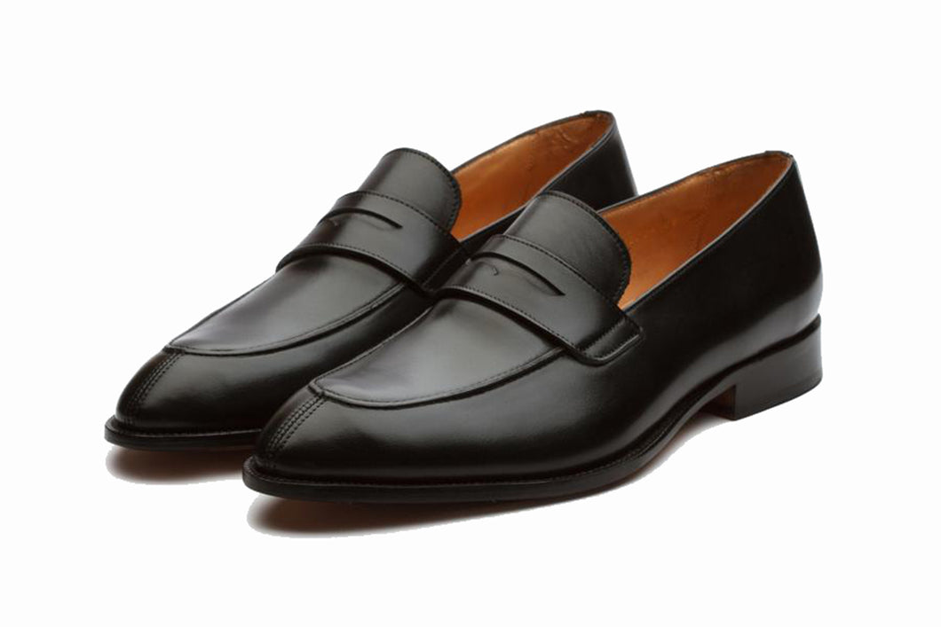 Black Leather Formal Penny Loafer Slip On Shoes for Men with Leather Sole. Goodyear Welted Construction Available.