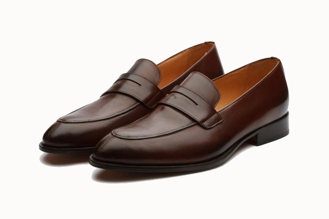 Dark Brown Leather Formal Penny Loafer Slip On Shoes for Men with Leather Sole. Goodyear Welted Construction Available.