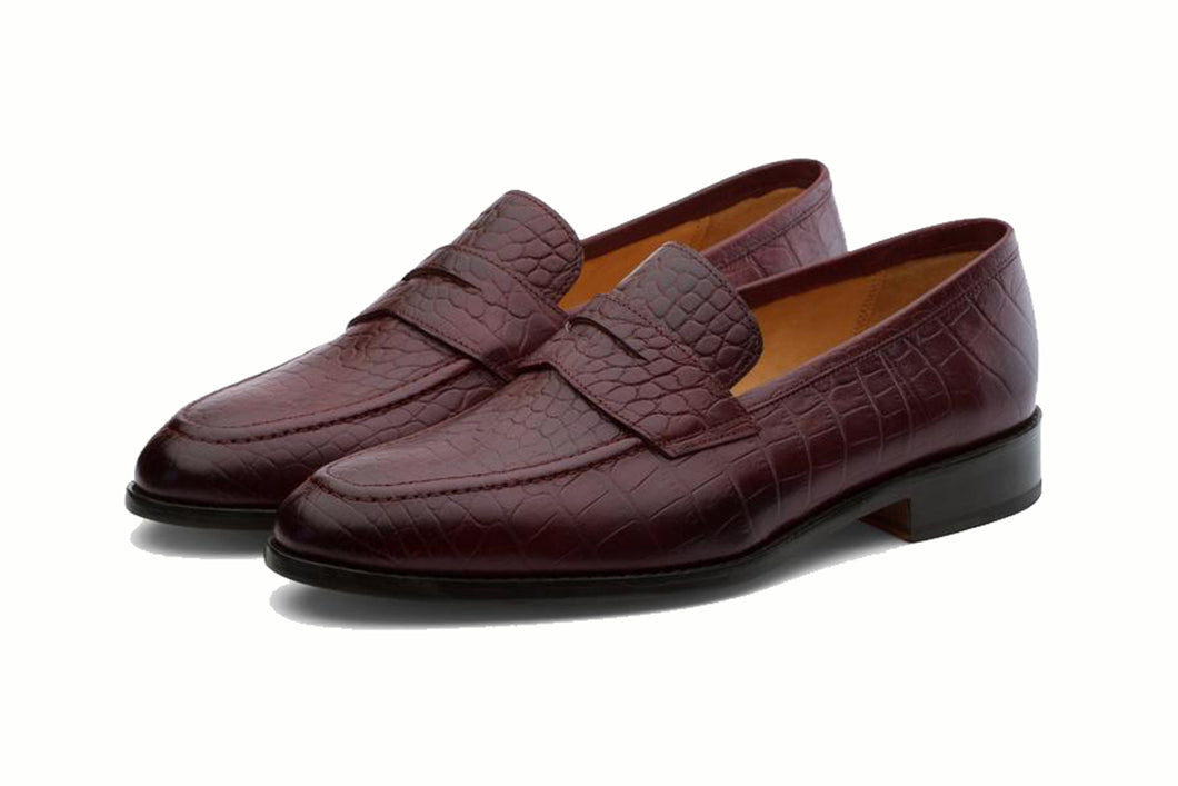 Burgundy Croco Print Leather Formal Penny Loafer Slip On Shoes for Men with Leather Sole. Goodyear Welted Construction Available.