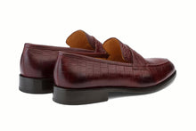 Load image into Gallery viewer, Burgundy Croco Print Leather Formal Penny Loafer Slip On Shoes for Men with Leather Sole. Goodyear Welted Construction Available.