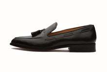 Load image into Gallery viewer, Black Leather Formal Tassel Loafer Slip On Shoes for Men with Leather Sole. Goodyear Welted Construction Available.