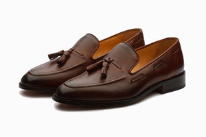 Brown Leather Formal Tassel Loafer Slip On Shoes for Men with Leather Sole. Goodyear Welted Construction Available.