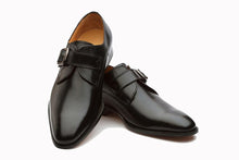 Load image into Gallery viewer, Black Leather Formal Single Monk Strap Buckle Shoes for Men with Leather Sole. Goodyear Welted Construction Available.
