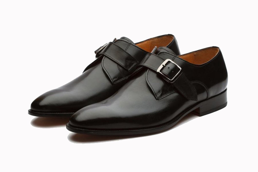 Black Leather Formal Single Monk Strap Buckle Shoes for Men with Leather Sole. Goodyear Welted Construction Available.