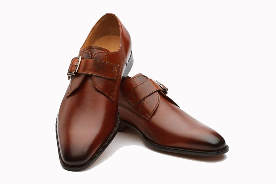Tan Leather Formal Single Monk Strap Buckle Shoes for Men with Leather Sole. Goodyear Welted Construction Available.