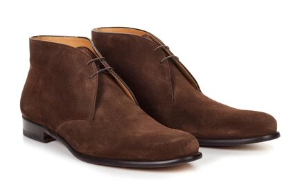 Brown Suede Leather Formal Chukka Boot Lace Up Shoes for Men with Leather Sole. Goodyear Welted Construction Available.