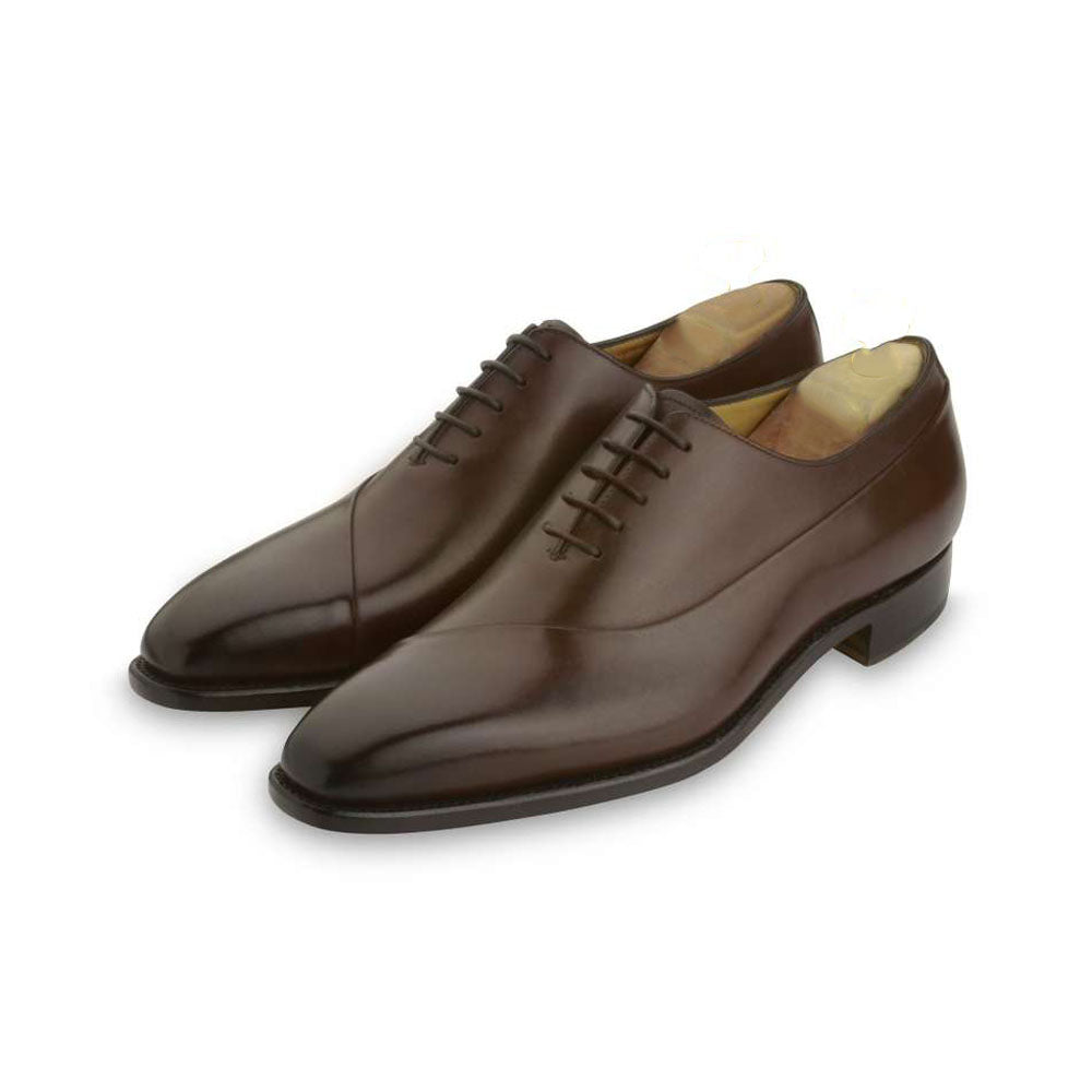 Dark Brown Leather Formal Wholecut Oxford Lace Up Shoes for Men with Leather Sole. Goodyear Welted Construction Available.