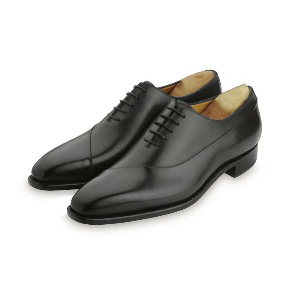 Black Leather Formal Wholecut Oxford Lace Up Shoes for Men with Leather Sole. Goodyear Welted Construction Available.