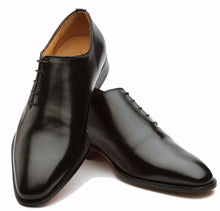 Load image into Gallery viewer, Black Leather Formal Wholecut Oxford Lace Up Shoes for Men with Leather Sole. Goodyear Welted Construction Available.
