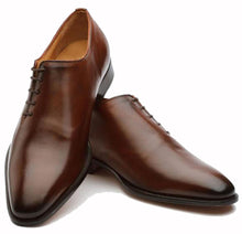 Load image into Gallery viewer, Brown Leather Formal Wholecut Oxford Lace Up Shoes for Men with Leather Sole. Goodyear Welted Construction Available.