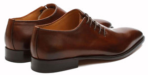 Brown Leather Formal Wholecut Oxford Lace Up Shoes for Men with Leather Sole. Goodyear Welted Construction Available.