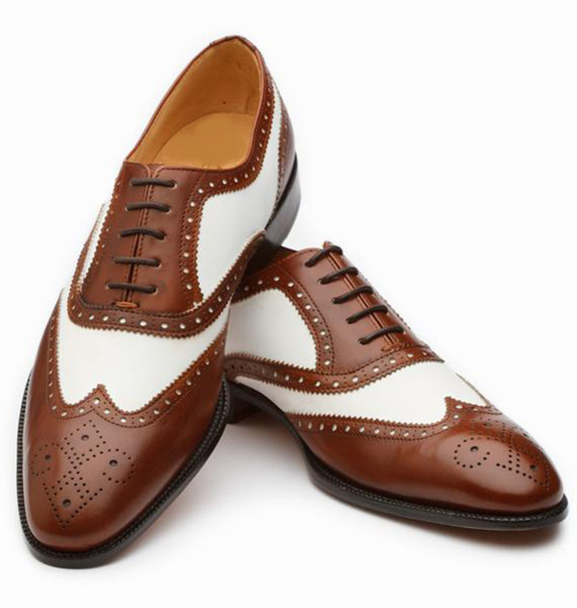 Dark Brown White Leather Formal Oxford Wingtip Brogue Lace Up Shoes for Men with Leather Sole. Goodyear Welted Construction Available.