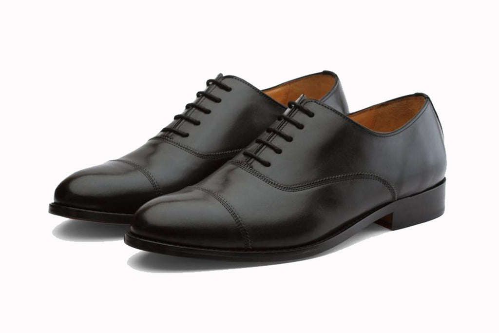 Black Leather Formal Toe Cap Oxford Lace Up Shoes for Men with Leather Sole. Goodyear Welted Construction Available.