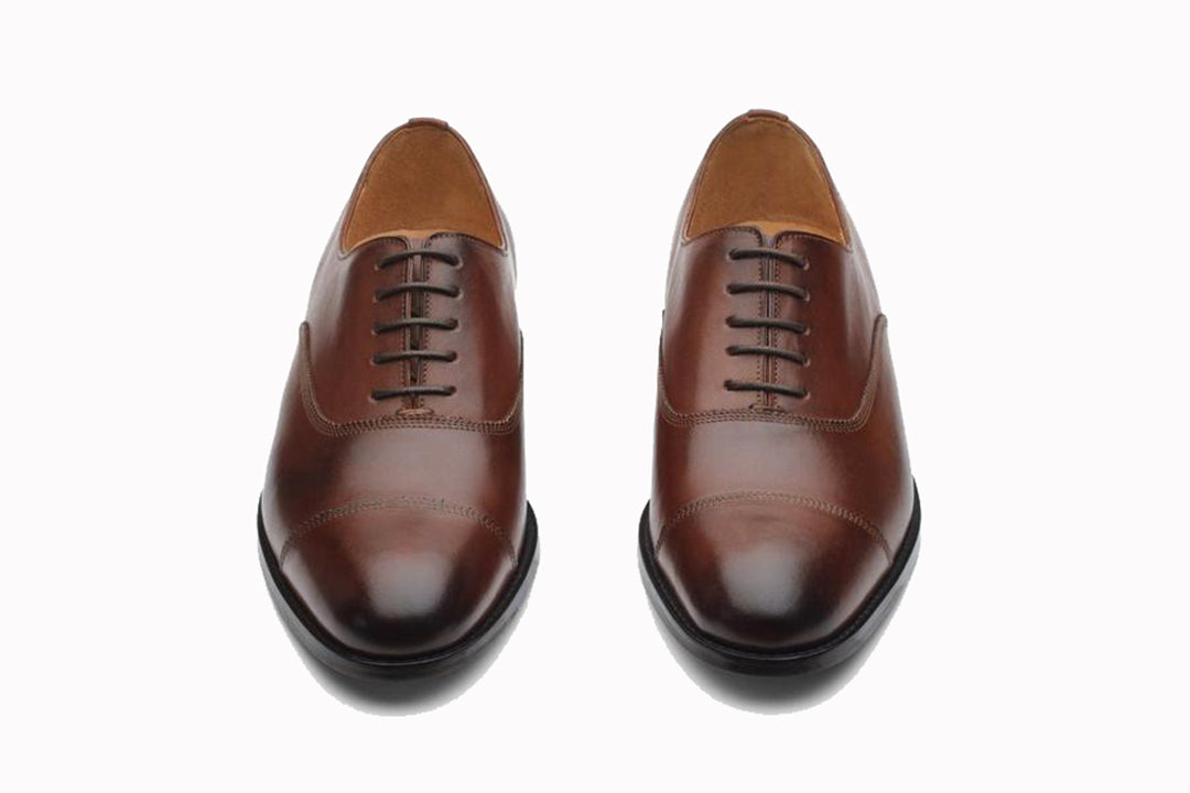 Tan Brown Leather Formal Toe Cap Oxford Lace Up Shoes for Men with Leather Sole. Goodyear Welted Construction Available.