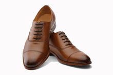 Load image into Gallery viewer, Tan Brown Leather Formal Toe Cap Oxford Lace Up Shoes for Men with Leather Sole. Goodyear Welted Construction Available.