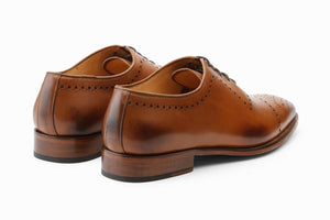 Tan Brown Leather Formal Wholecut Oxford Brogue Lace Up Shoes for Men with Leather Sole. Goodyear Welted Construction Available.