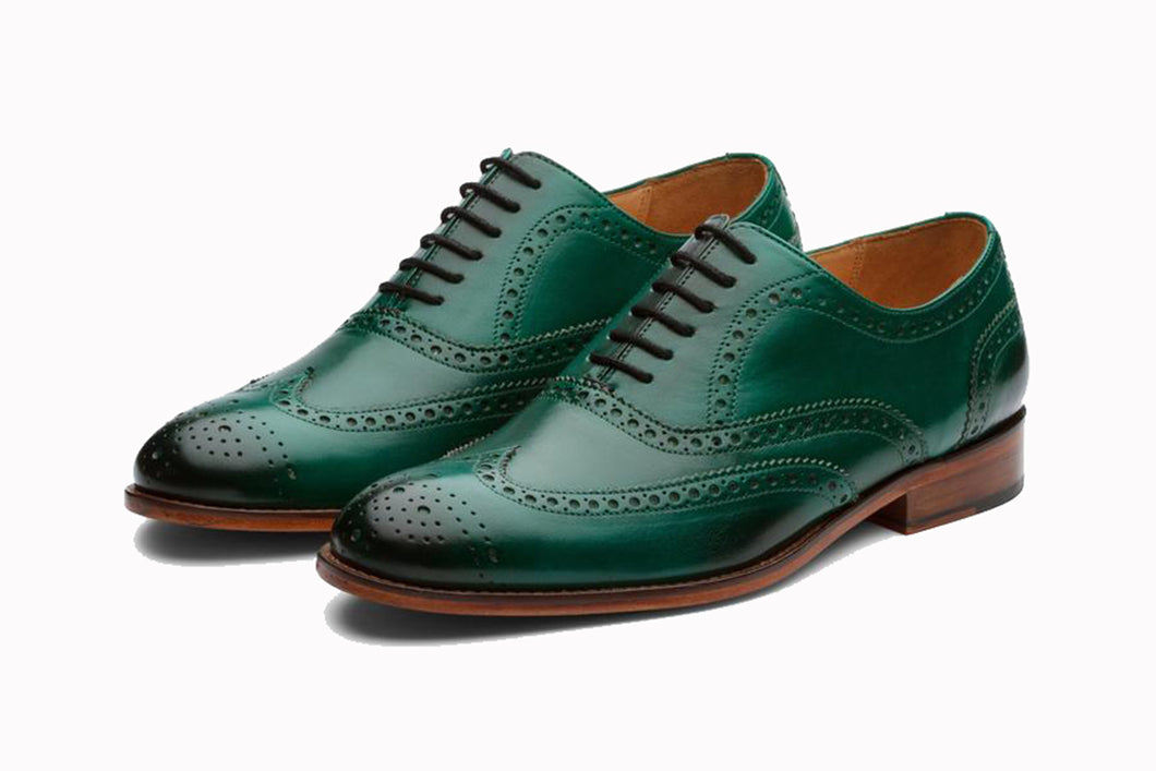 Turquoise Green Leather Formal Oxford Wingtip Brogue Lace Up Shoes for Men with Leather Sole. Goodyear Welted Construction Available.