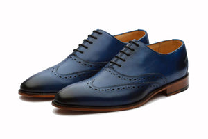 Navy Blue Leather Formal Oxford Wingtip Brogue Lace Up Shoes for Men with Leather Sole. Goodyear Welted Construction Available.