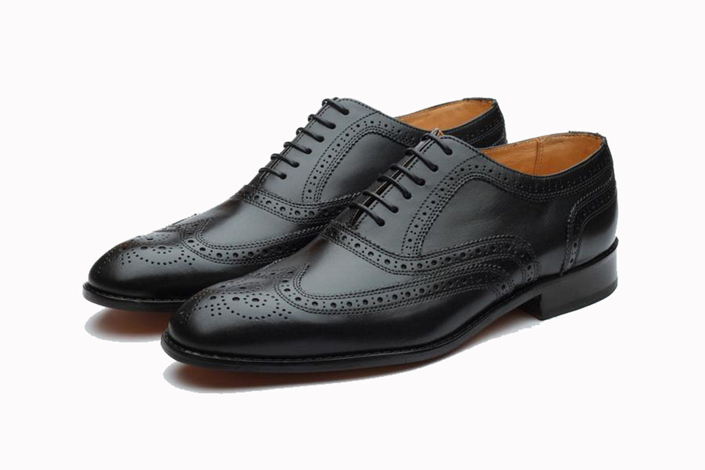 Black Leather Formal Oxford Wingtip Brogue Lace Up Shoes for Men with Leather Sole. Goodyear Welted Construction Available.