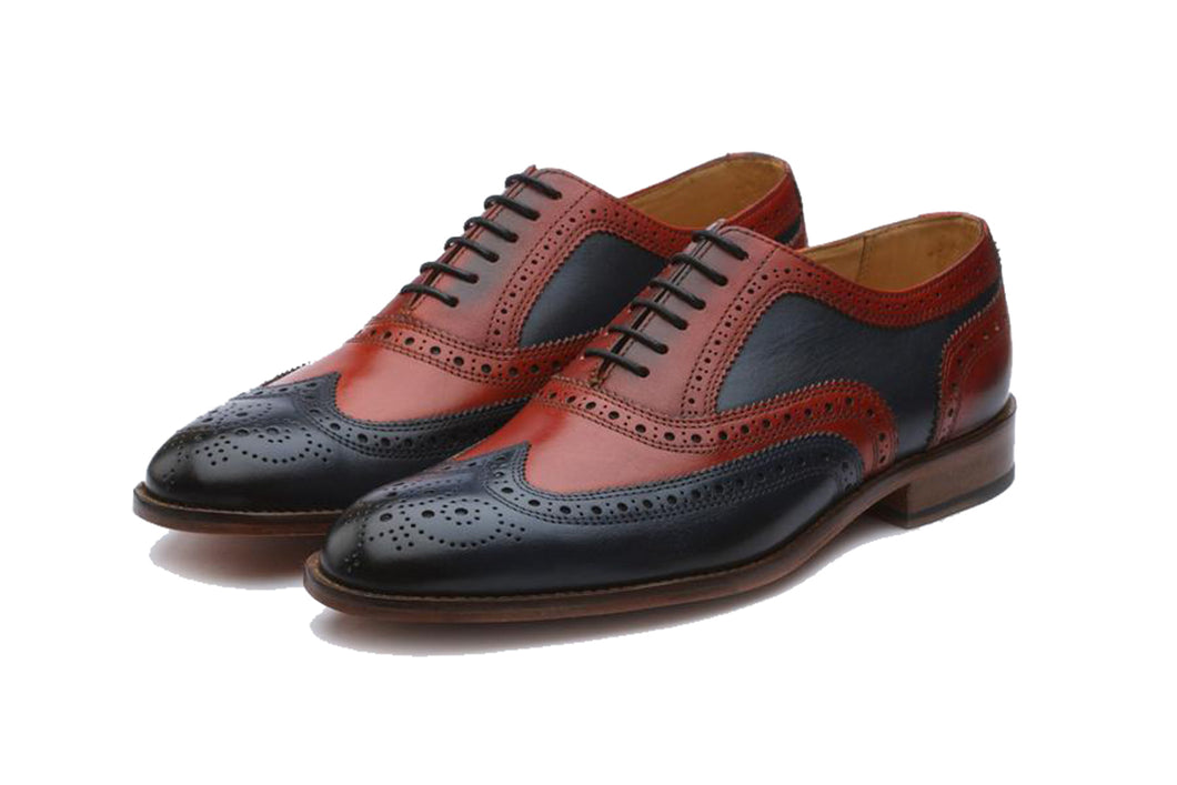 Navy Blue Burgundy Cherry Red Leather Formal Oxford Wingtip Brogue Lace Up Shoes for Men with Leather Sole. Goodyear Welted Construction Available.