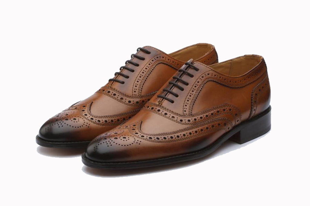 Tan Brown Leather Formal Oxford Wingtip Brogue Lace Up Shoes for Men with Leather Sole. Goodyear Welted Construction Available.