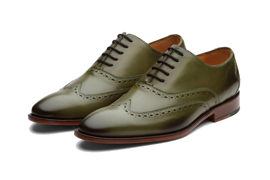 Olive Green Leather Formal Oxford Wingtip Brogue Lace Up Shoes for Men with Leather Sole. Goodyear Welted Construction Available.