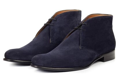Navy Blue Suede Leather Formal Chukka Boot Lace Up Shoes for Men with Leather Sole. Goodyear Welted Construction Available.