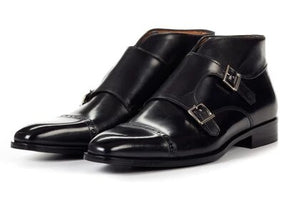 Black Leather Formal Toe Cap Double Monk Strap Buckle Boot Shoes for Men with Leather Sole. Goodyear Welted Construction Available.