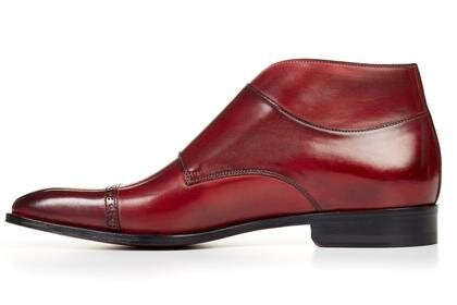 Burgundy Leather Formal Toe Cap Double Monk Strap Buckle Boot Shoes for Men with Leather Sole. Goodyear Welted Construction Available.