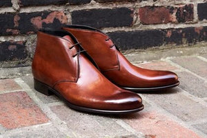 Tan Patina Finish Leather Formal Chukka Boot Lace Up Shoes for Men with Leather Sole. Goodyear Welted Construction Available.
