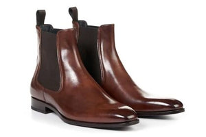 Brown Leather Formal Chelsea Boot Slip On Shoes for Men with Leather Sole. Goodyear Welted Construction Available.