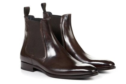 Dark Brown Leather Formal Chelsea Boot Slip On Shoes for Men with Leather Sole. Goodyear Welted Construction Available.