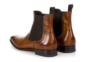 Light Tan Leather Formal Chelsea Boot Slip On Shoes for Men with Leather Sole. Goodyear Welted Construction Available.
