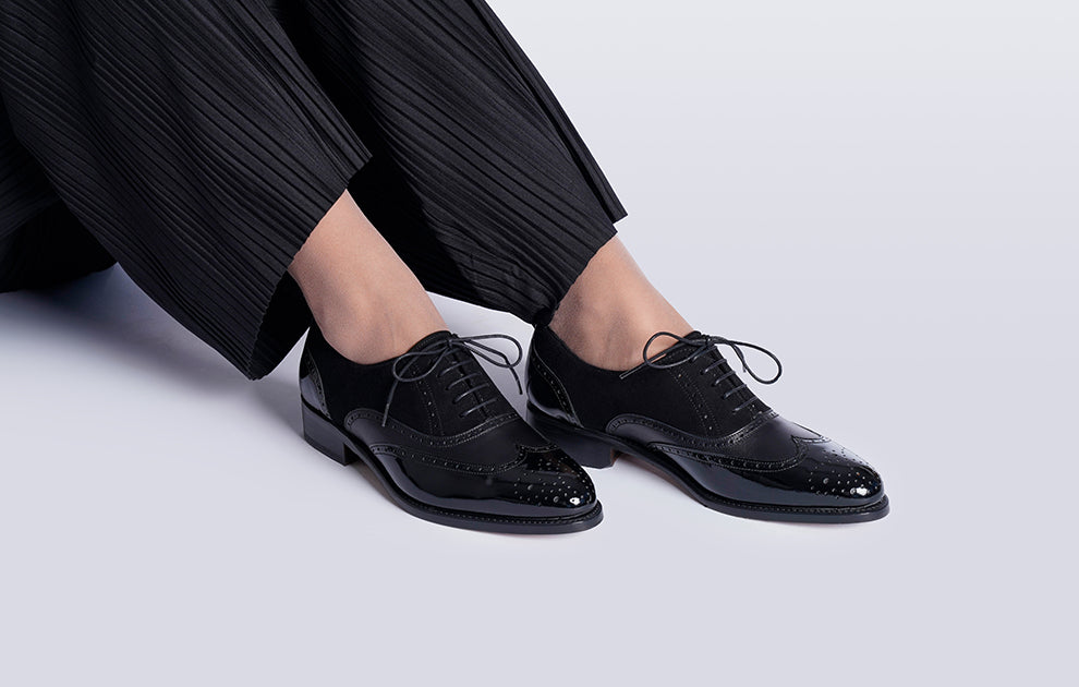 Headturner Black Patent Suede Oxford for Women