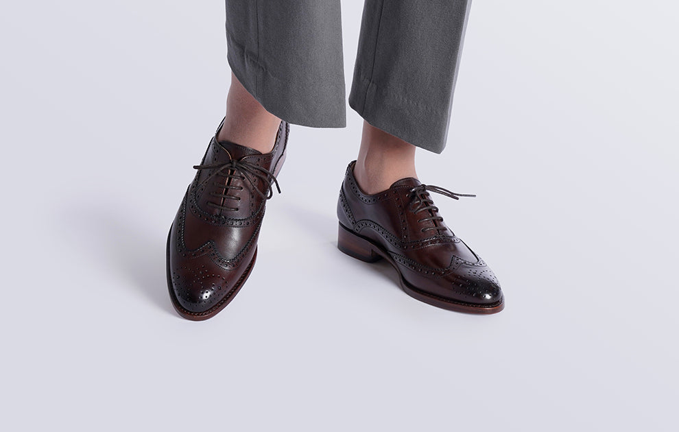 Emily Dark Brown Leather Brogue Oxford for Women