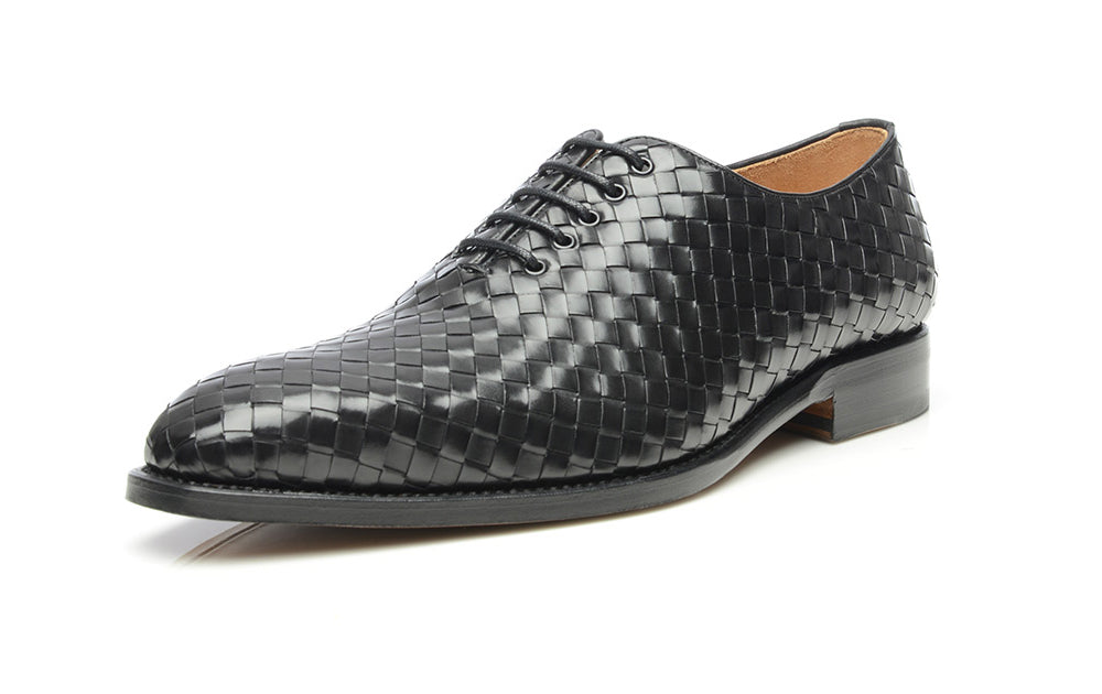 Black Leather Formal Braided Woven Wholecut Oxford Lace Up Shoes for Men with Leather Sole. Goodyear Welted Construction Available.